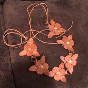 Leather flower belt boho